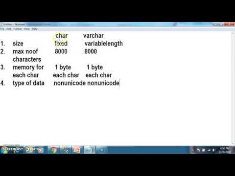 Difference Between Char,nchar,varchar,nvarchar In SqlServer