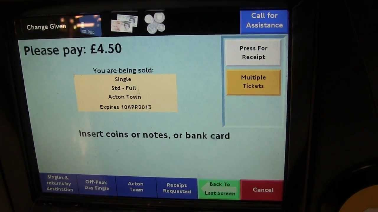 Train ticket LCD touchscreen interface in operation - L ...