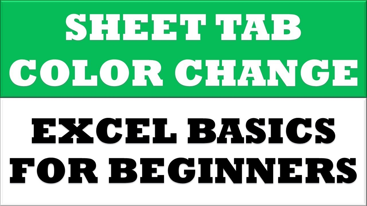 How to Change worksheet Tab Color in MS Excel 2016 | Excel Basics ...