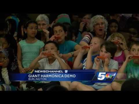 Harmonica lesson at Burlington school