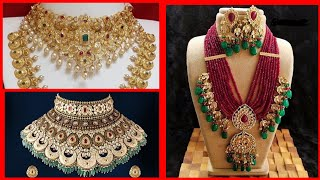 Latest adorable gold fancy bridal heavy jewellery designs collection