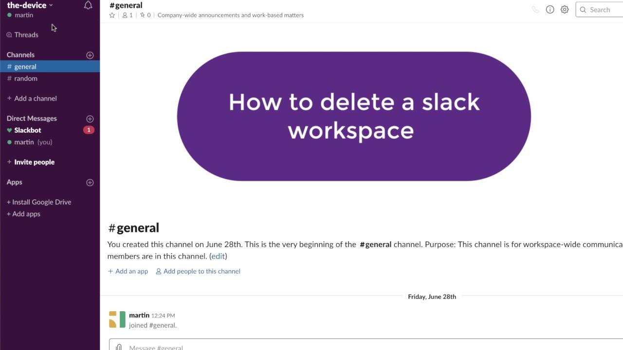 How do I delete a Slack Workspace?