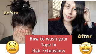 How To Wash Your Tape In Hair Extensions at Home DIY | Shampoo, Brush, and Reapply