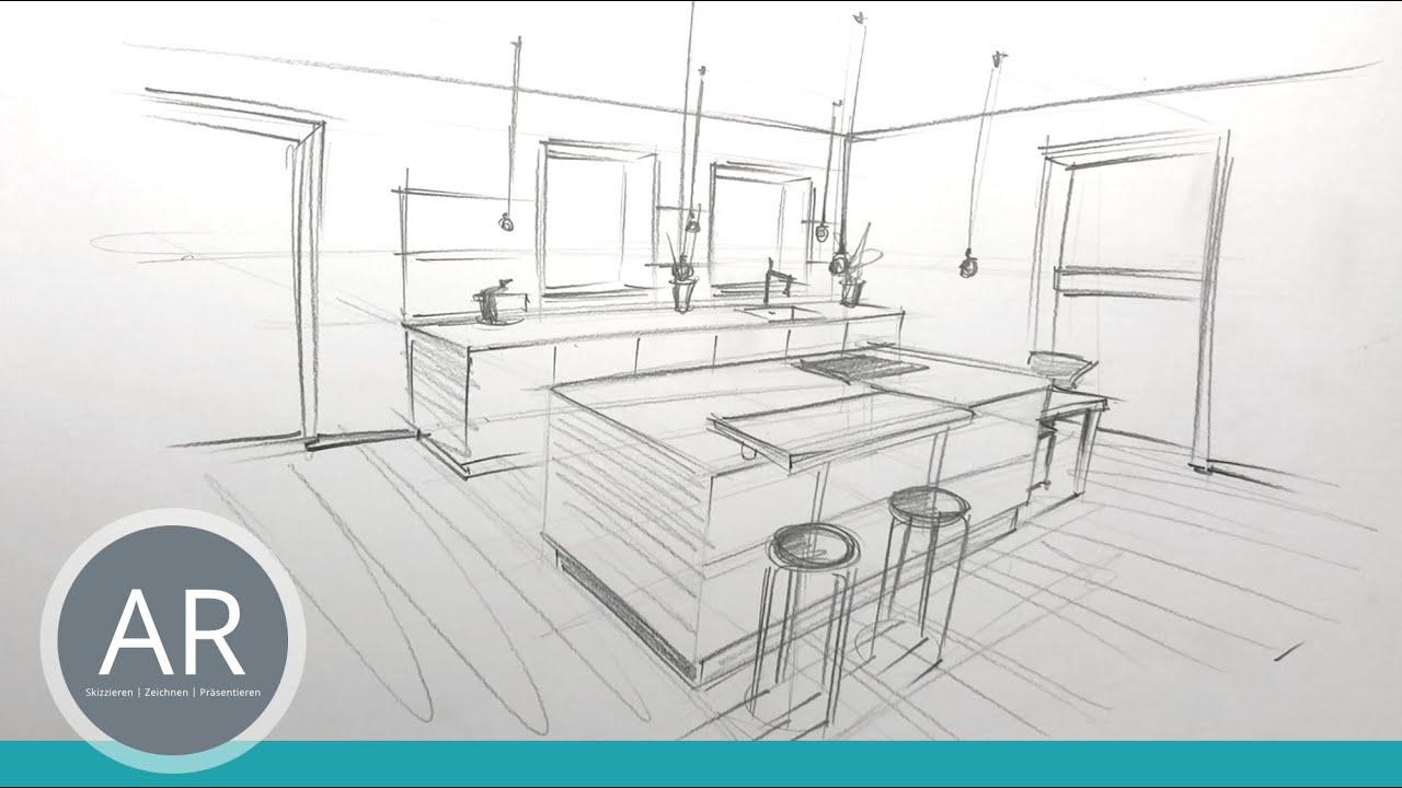 Innenarchitektur Zeichnungen. Räume schnell in Perspektive zeichnen lernen.  Küchenplaner Zeichenkurs