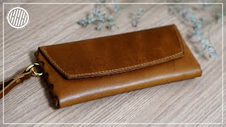 LeatherCraft  Making a leather Phone wallet   Handmade long wallet   DIY Leather working