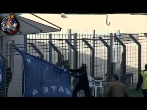OFI hooligans  stealing Chania banners  (21.04.18) //  Pyro-Greece