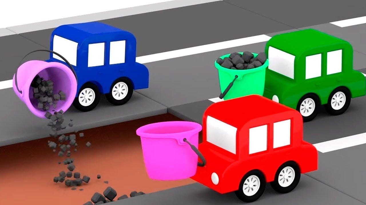Lehrreicher Zeichentrickfilm - Die 4 kleinen Autos bauen eine Straßenwalze