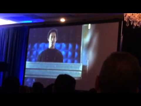 Grant Gustin Accepting Breakthrough Performance Award at the Saturn Awards