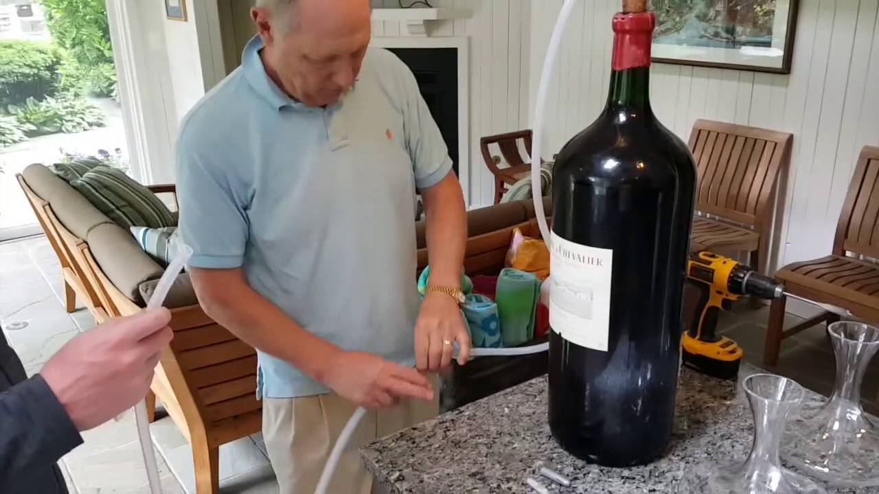 opening biggest wine bottle and decanting youtube. Black Bedroom Furniture Sets. Home Design Ideas