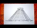 Aprende a dibujar la piramide maya  Kukulkán en Chichen Itzá