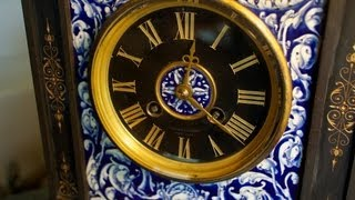 Victorian Cast Iron and Porcelain Tiffany Mantel Clock for Sale