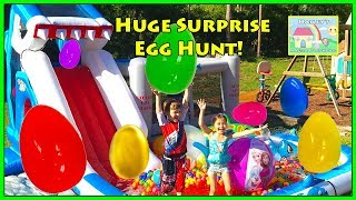 Huge Eggs Surprise Toys Challenge on Shark Park Water Slide! Outdoor Play