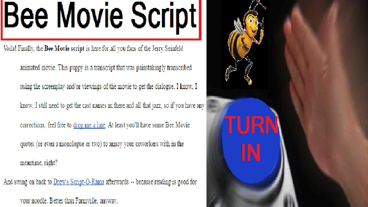 turning in the bee movie script instead of essay  turning in the bee movie script instead of essay