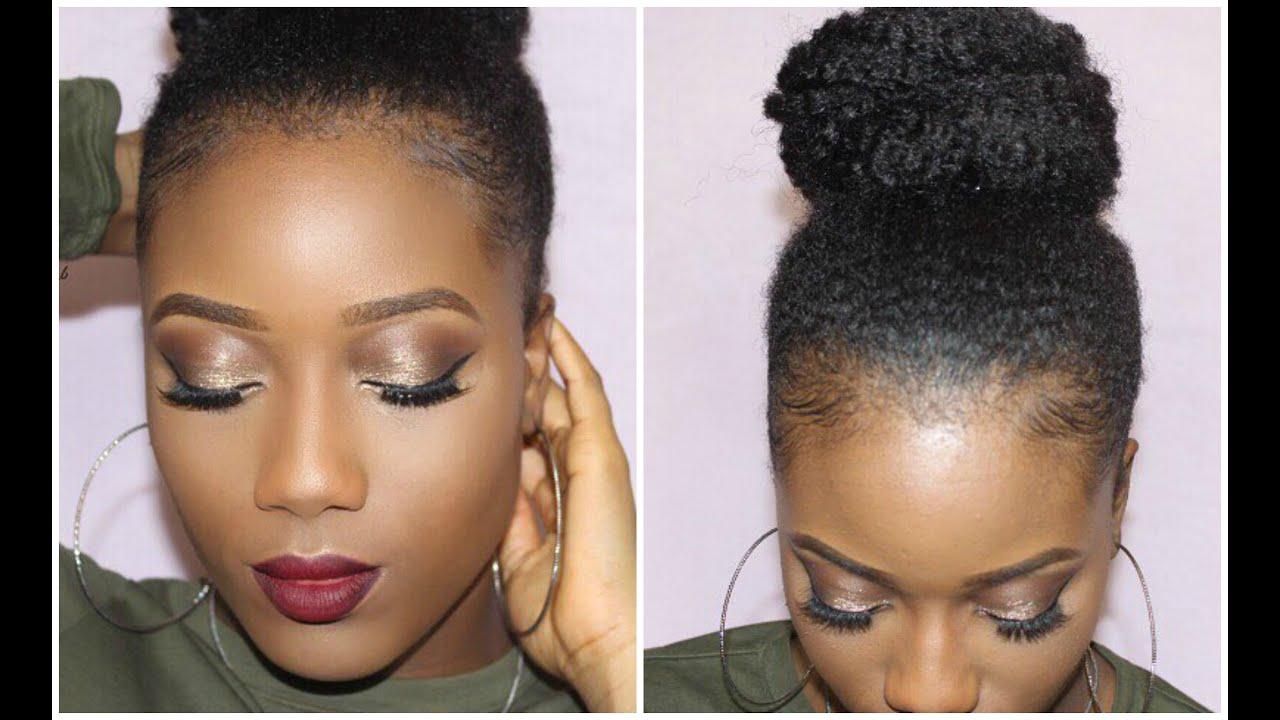 Glam Red Lip Slick Faux Bun on Natural 4C Hair