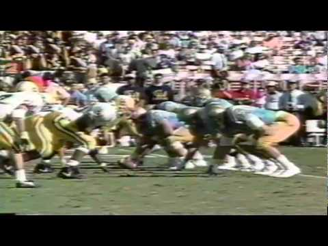 UCLA QB Tommy Maddox slips, UO LB Ernest Jones gets an easy sack 11-16-1991