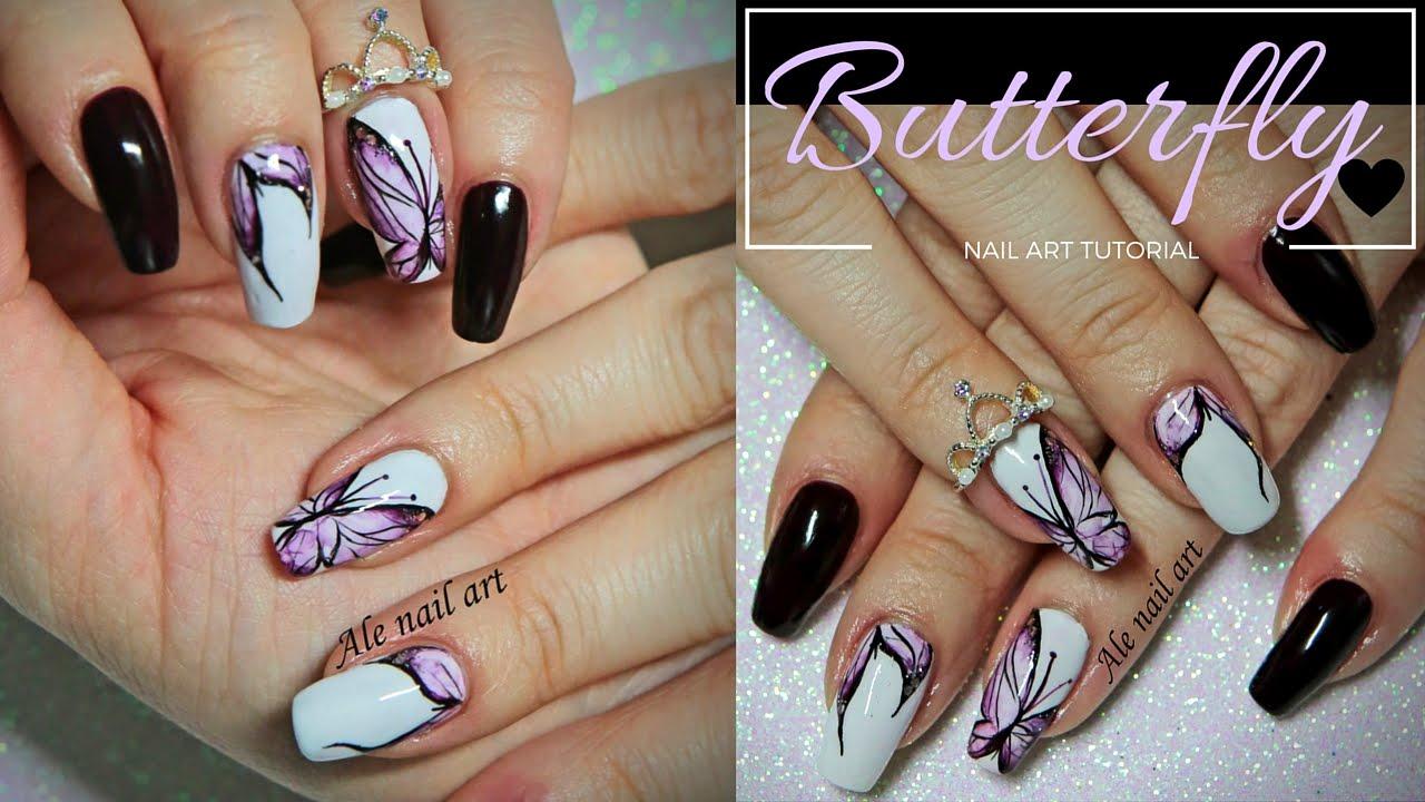 Butterfly nail art con acquerelli ale nail art youtube butterfly nail art con acquerelli ale nail art prinsesfo Gallery