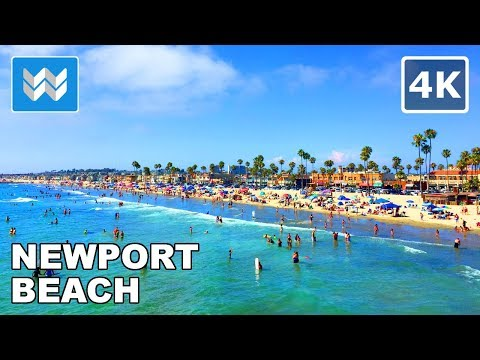 Walking along Newport Beach in Orange County, California 【4K