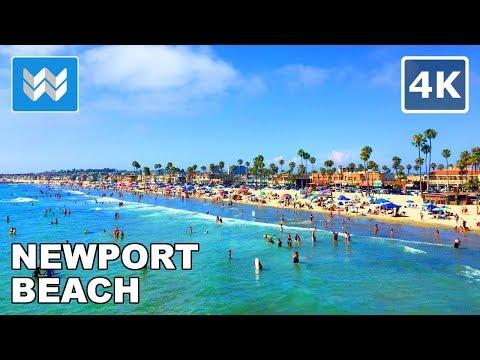 Walking along Newport Beach in Orange County, California 【4K】