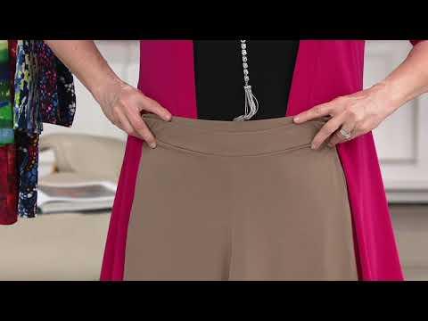 Susan Graver Liquid Knit Crop Pants with Side Slits on QVC