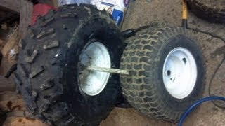 How to Mount atv tire on lawn tractor rim