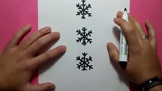 Como dibujar copos de nieve paso a paso | How to draw snowflakes