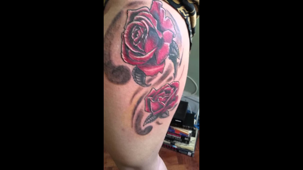 Roses thigh tattoo - YouTube