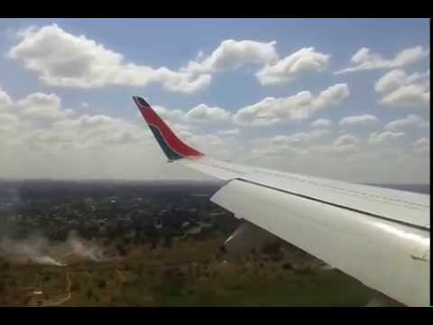 Kenya airways landing at Ndola International Airport.