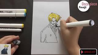 Bé tập vẽ và tô màu Sanji ONE PIECE bút marker đảo hải tặc KID DRAW PAINT COLOR CARTOON