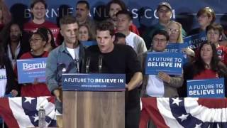 Charlie and Max Carver Open For Bernie Sanders Rally In Lancaster, Ca