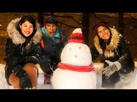 OUR FIRST SNOWMAN | POLINESIOS VLOGS