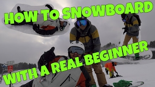How to Snowboard with a REAL BEGINNER!