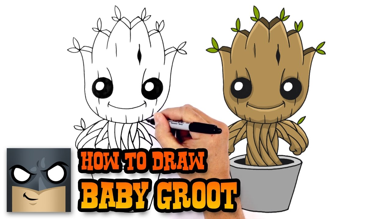 How To Draw Baby Groot Guardians Of The Galaxy Youtube
