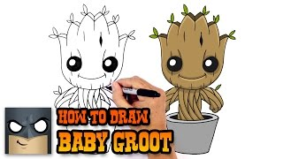 How to Draw Baby Groot | Guardians of the Galaxy