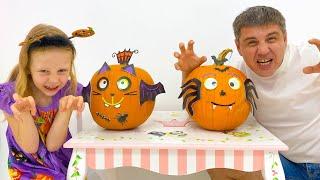 Nastya tries on Halloween cost…