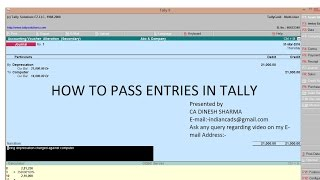 how to pass entries in tally