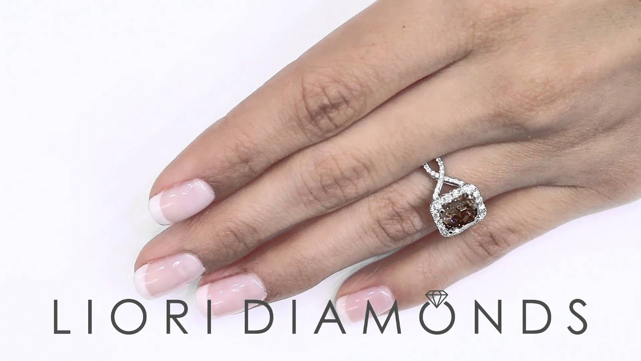 Fd678  358 Carat Fancy Cognac Brown Cushion Cut Diamond Engagement Ring  18k Pave Halo
