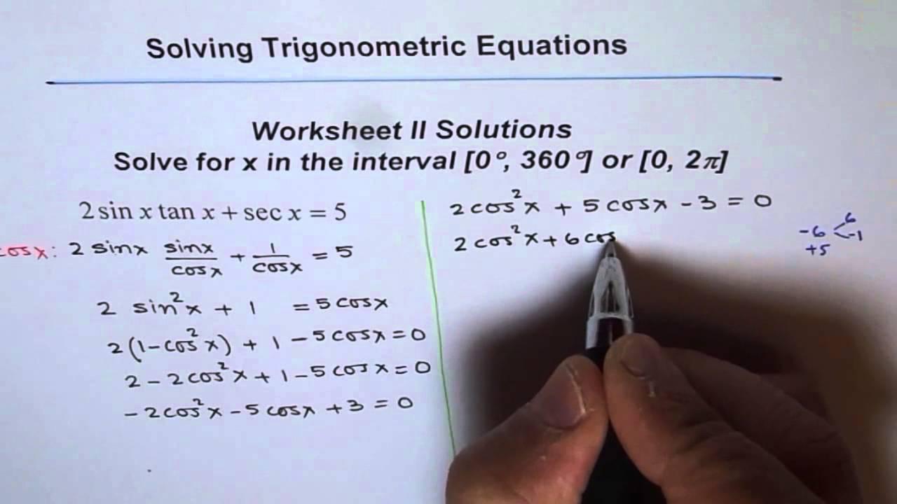 trigonometric equations worksheet 2 solution q5 - Solving Trig Equations Worksheet