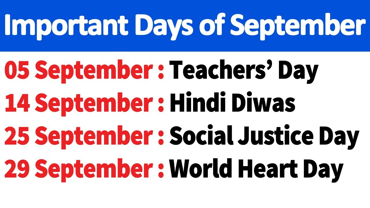 Important Days in September 2020 for Competitive Exams, SSC, IBPS, NTPC, Railway NTPC Group D