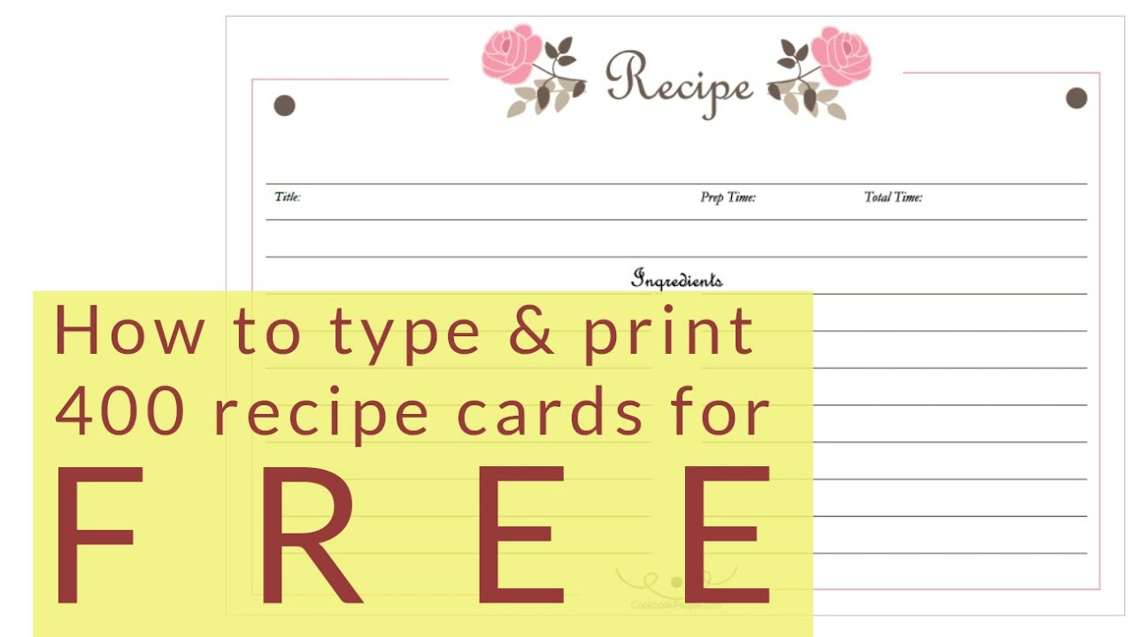 Free Recipe Cards - Cookbook People With Regard To 4x6 Photo Card Template Free