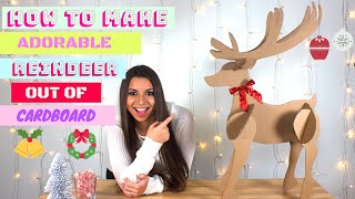 HOW TO MAKE ADORABLE REINDEER OUT OF CARDBOARD / CHRISTMAS DIY #1