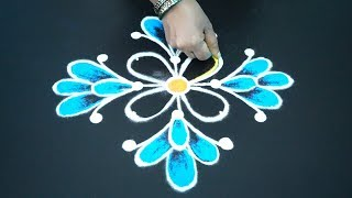 Simple Rangoli for Kids - Beginners Kolam art Design with 7x1 dots - Colour Diwali rangoli