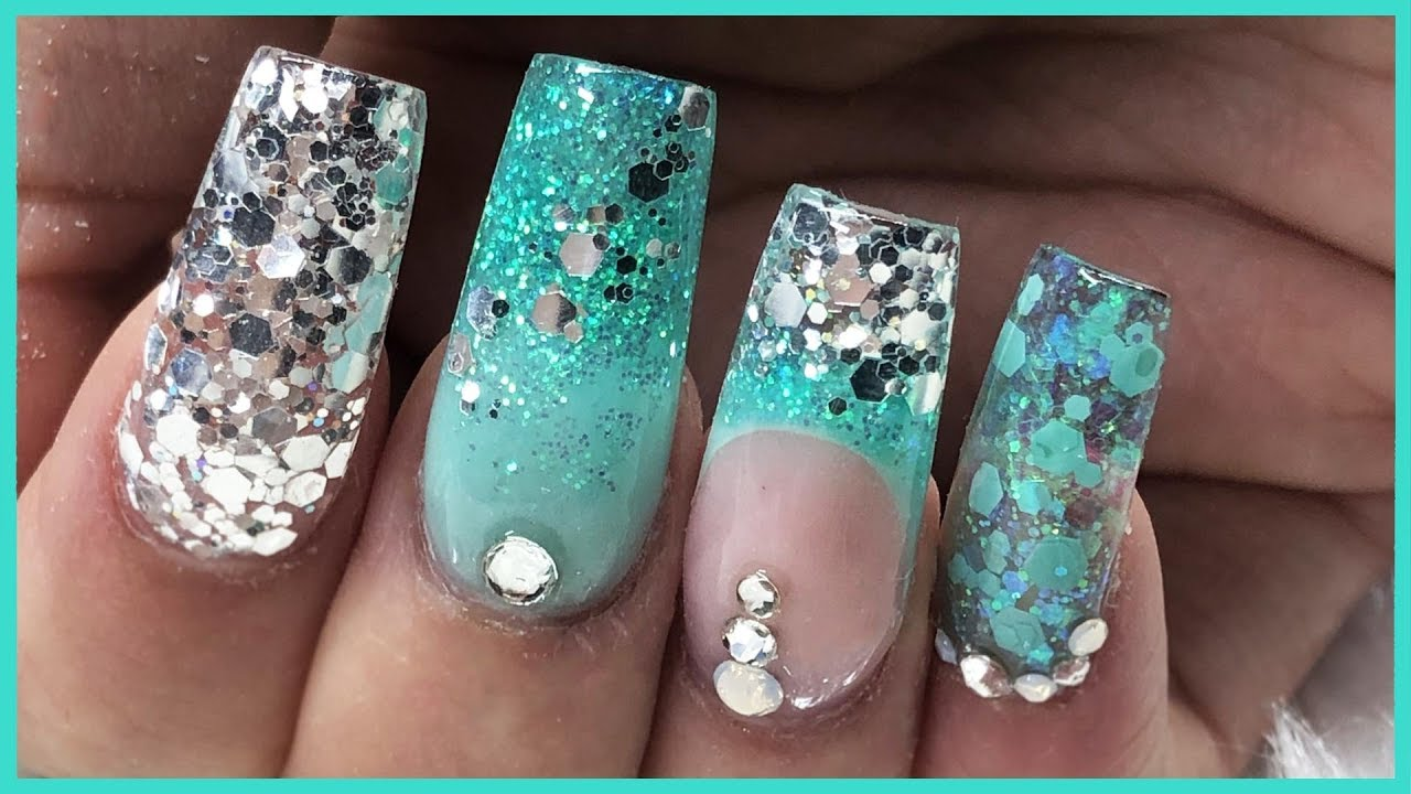 ACRYLIC NAILS Mint Green and GLITTER design