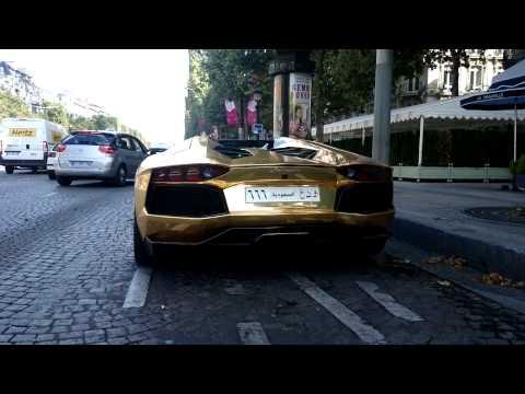 Lamborghini Aventador Gold Paris Champs elysees 2014 09 03 0618