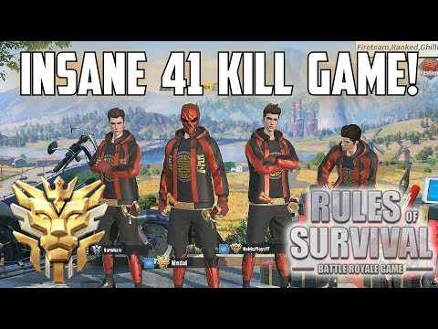 41 KILL FIRETEAM WIN! - New Record! - Rules of Survival: Battle Royale