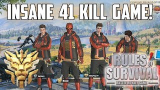 41 KILL FIRETEAM WIN! - New Record! - Rules of Survival: Battle Royale