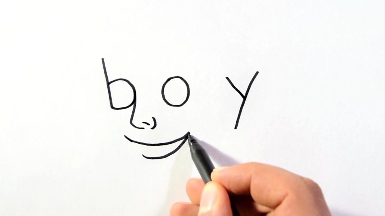 How To Turn Words Into Cartoons Word Boy To A Boy Drawing