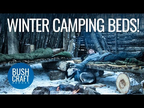 Bushcraft Treehouse 22: Winter Camping Canada - Building Beds around the Camp Fire