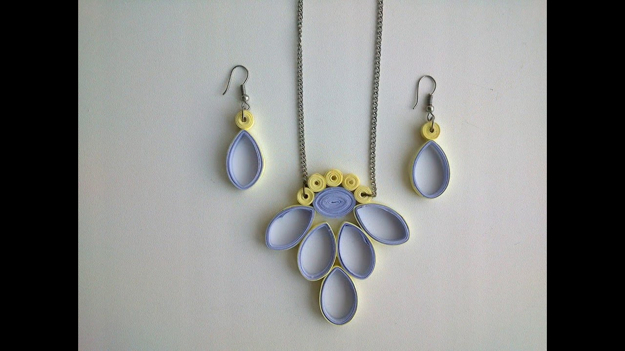 Quilling Earring designs: How to make Quilling Earrings & Quilling necklace - YouTube