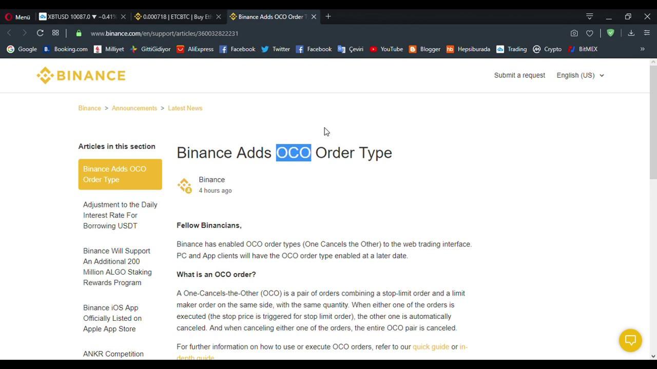 Binance OCO Order Type - Nasıl kullanılır ?