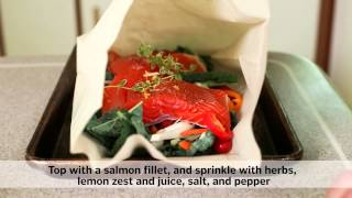 Salmon And Veggies Baked In Parchment